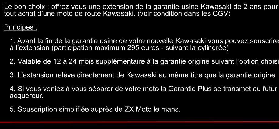 Garantie Plus Kawasaki, jusqu